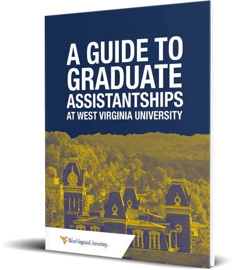 "An e-book cover with the title, ""A Guide to Graduate Assistantships at West Virginia University."""