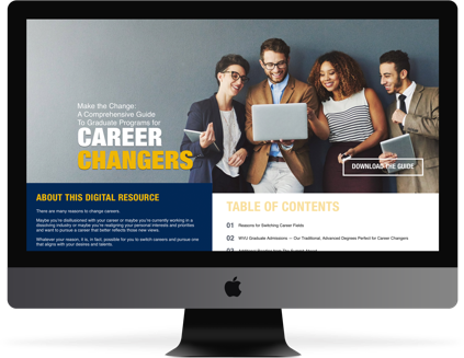 Computer monitor displaying a preview of WVU's digital resource for those making a career change.