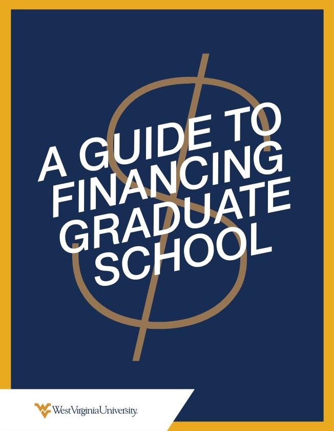 "E-book cover titled, ""A Guide to Financing Graduate School"" over an image of a dollar sign."