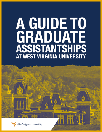 "E-book cover titled, ""A Guide to Graduate Assistantships at West Virginia University."""