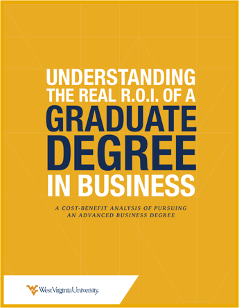 "E-book cover titled, ""Understanding the Real ROI of a Graduate Degree in Business."""