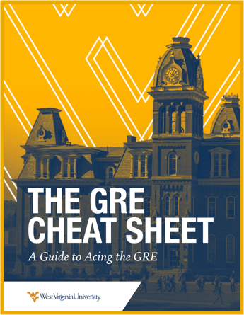 "E-book cover titled, ""The GRE Cheat Sheet. A guide to Acing the GRE"" over a yellow and blue image of WVU's campus."