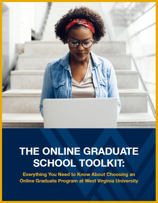 "E-book cover titled, ""Everything You Need to Know About Choosing an Online Graduate Program at West Virginia University."""